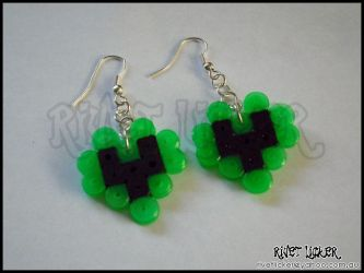 8-Bit Heart Earrings - Neon Green by angeleyezxtc