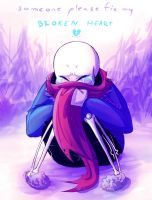Sans - Broken heart by Glamist
