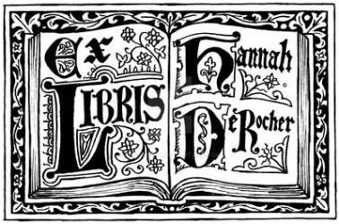 Open Book Gothic bookplate by Theophilia