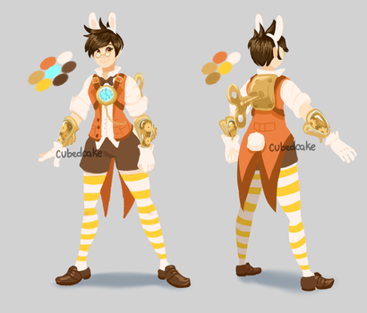 Overwatch Skin Concepts - Tracer the White Rabbit by CubedCake