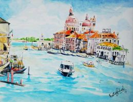 Venezia, Watercolor on Paper by rutujapadwal