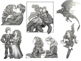 Merida and Hiccup Sketch Dump 2 by Redhead-K