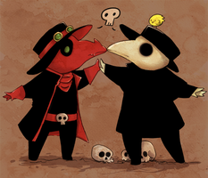 [commission] - Two Plague Doctors and a Chick by FrankiesBugs
