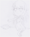 [Sketch] Flying broom Chibi Fanney by Blizzard-White