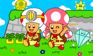 Captain Toad and Toadette by MarioSimpson1