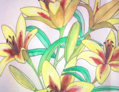Watercolors: Yellow and Red Lilies by KairiCentatri