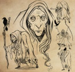 Crone of the Western Wood Character Design Study by FlatAsABird