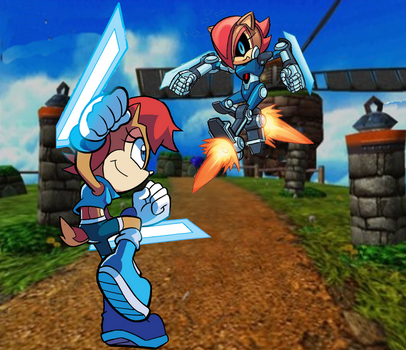 Sally vs Mecha Sally by FrostTheHobidon