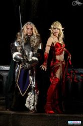 Arthas as Death Knight  and  Blood elf  Mage. by Carancerth