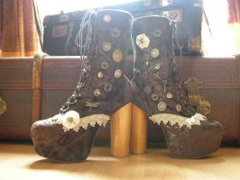 Upcycled Jeffrey Campbell Lita Boots .. Steampunk by S-T-A-R-gazer