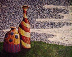Two Vases on a Hill by oceanstarr