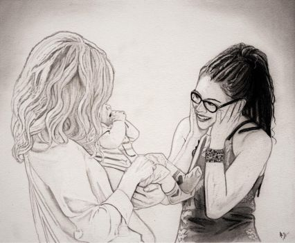 Cophine and Purple (Graphite Drawing) by julesrizz