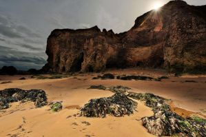Time-battered Cliffs and Quiet Beach by albammo