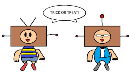 Halloween request Ness and Jeff in robot costumes by MarnicSteve92