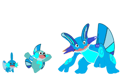 My Mudkip Evolving Form New Version by kk2005mudkipart