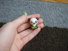 Panda with Bamboo Polymer Clay Charm by ResurrectedVampire69