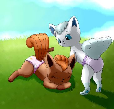 Diapered Alolan and normal Vulpix by ConejoWhite
