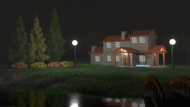 Peaceful House at Night by ExperimentalBytes