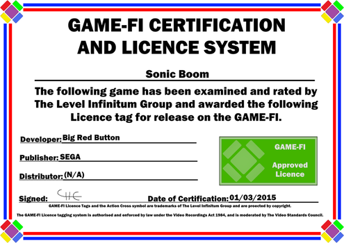 Sonic Boom Game-Fi Certificate by LevelInfinitum
