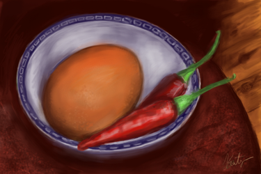 Two Chillies and Egg by Belldandy1