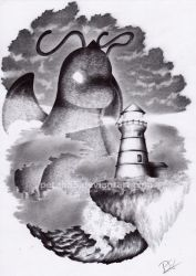Commission Lighthouse Dragonite by Petah55