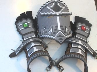 Perler Armor - Helmet, Vambraces, and Gauntlets by DisasterExe