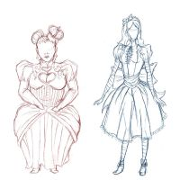 Queen And Alice Sketches by Redundantthoughts