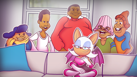Rouge the bat and the gang chilling on the couch by STANN-co