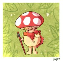 draw everyday challenge day 2 mushroom creature by ISzopI