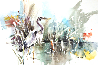 Heron - Watercolor Painting by Abstractmusiq