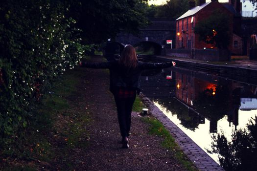 Girl By The Canal, Autumn Evening by ADI21071