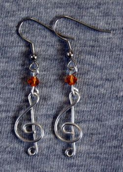 Silver and Amber Treble Clef Earrings by craftymama