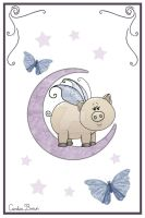 Piggy on the Moon II by VioletDolphin