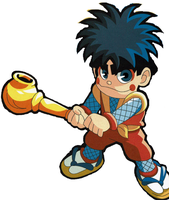 Goemon in super mario bros super show style by Ruensor
