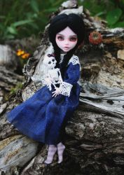 Monster High Draculaura repaint: Wednesday Addams by sassynails
