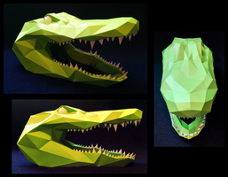 Alligator Head Papercraft by Gedelgo