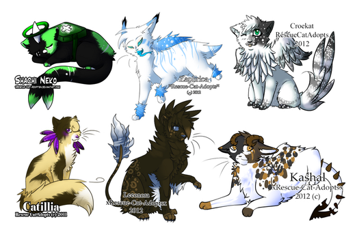 RCA Adoptables Batch 1 by xRescue-Cat-Adoptsx