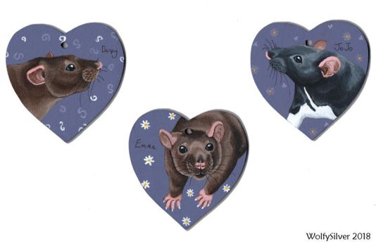 Rat Wooden Heart Commissions by wolfysilver