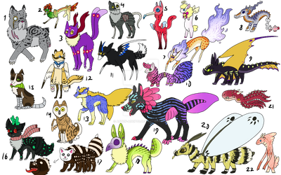 Crazy Creatures I - NYP/FREE - CLOSED by Artzy-Adopts