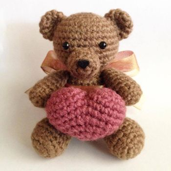 Sitting Basic Teddy Bear With Heart by craftyhanako