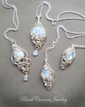 Four Moonstone and Sterling Silver Pendants by blackcurrantjewelry