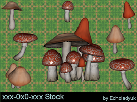 Toadstools pack of 7 by xxx-0x0-xxx