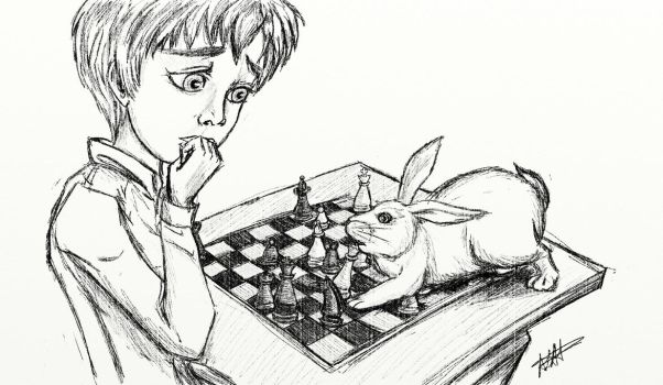 Bunny Plays With Boy by Irisa007