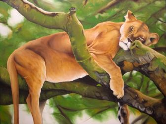 Lioness in tree by ChadFullerton