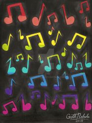 Rainbow of Music Notes by GothNebula