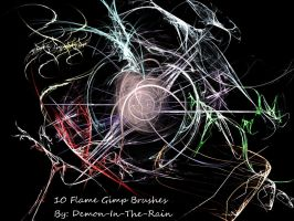 Flame-Glow Gimp Brushes by Demon-in-the-rain