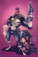 Punisher and Wolverine by Red-J. Colours by CB. by CB-ComicArt