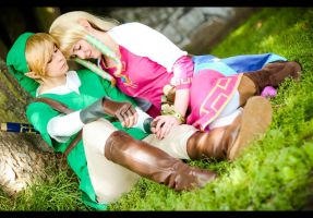 Zelda + Link by RoteMamba