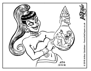 Inktober 2018 - Witches and Wizards - Bottle by FavouriteCrayon