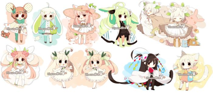 Misc Adoptables: April Set CLOSED by Hinausa
